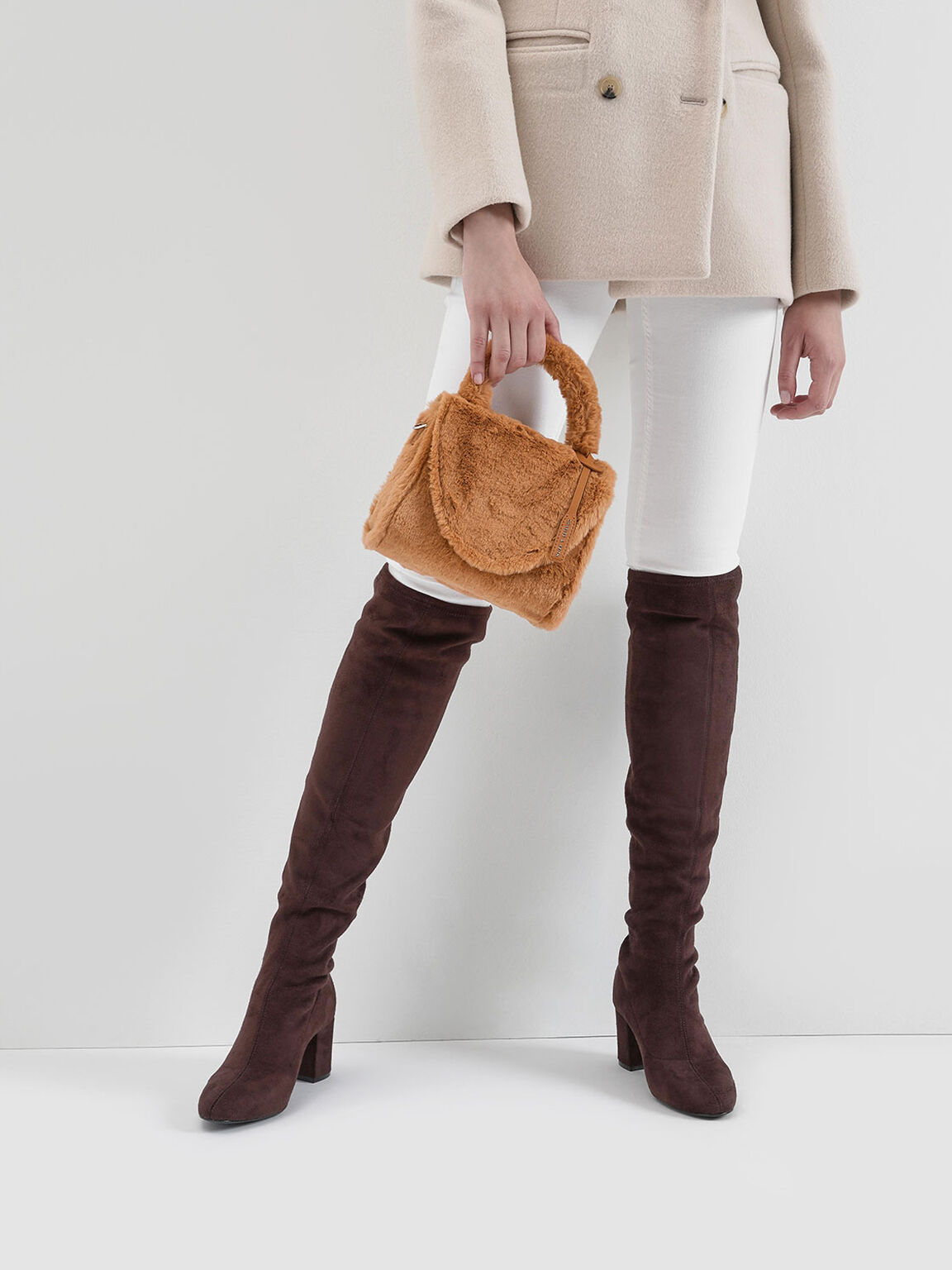 Textured Thigh High Boots, Brown, hi-res