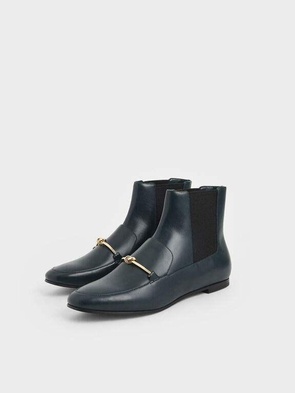 Metallic Knot Accent Chelsea Boots, Green