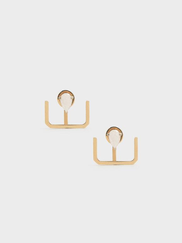 月光石U型耳環, 金色, hi-res