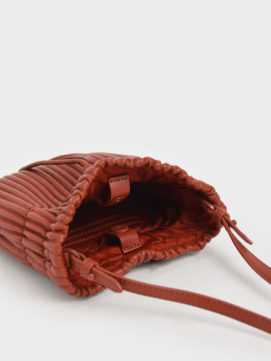 Textured Drawstring Belt Bag, Clay, hi-res