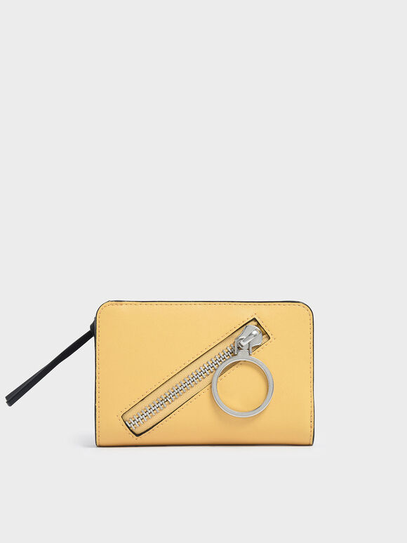 Ring Detail Zip Around Small Wallet, Yellow, hi-res
