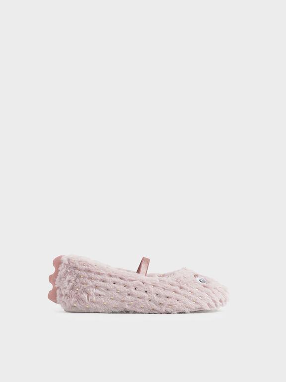 Girls' Furry Eye Detail Mary Jane Flats, Light Pink, hi-res