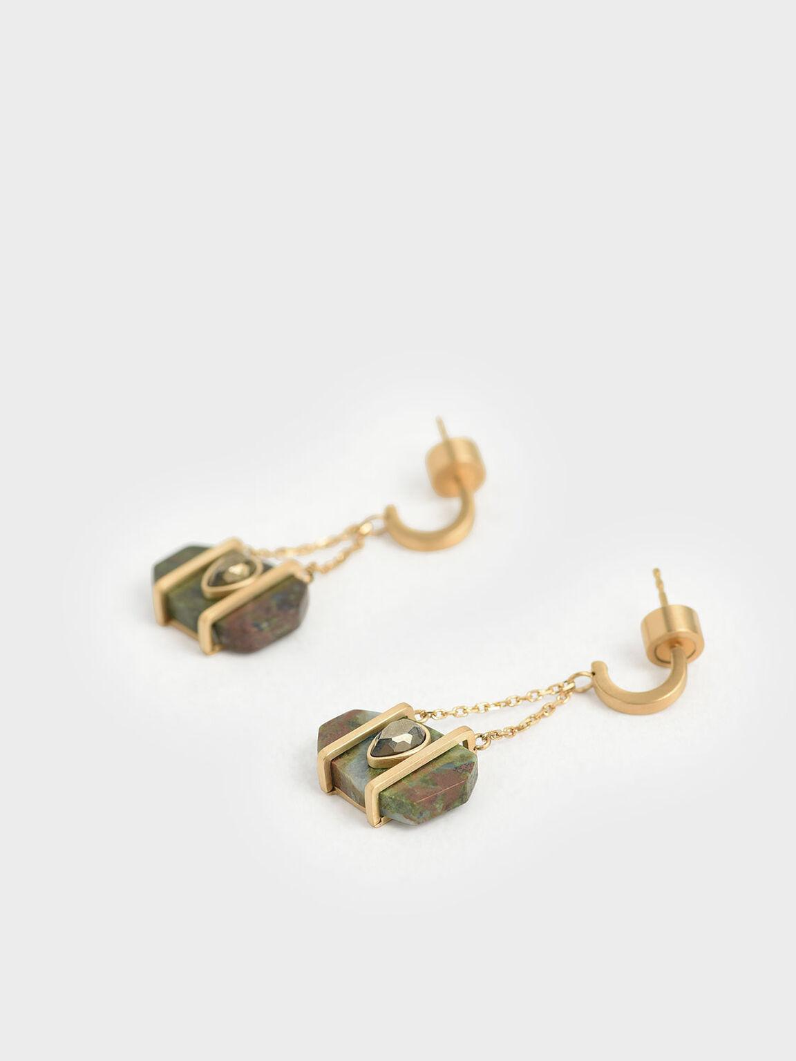 Chrysocolla & Pyrite Gemstone Drop Earrings, Turquoise, hi-res