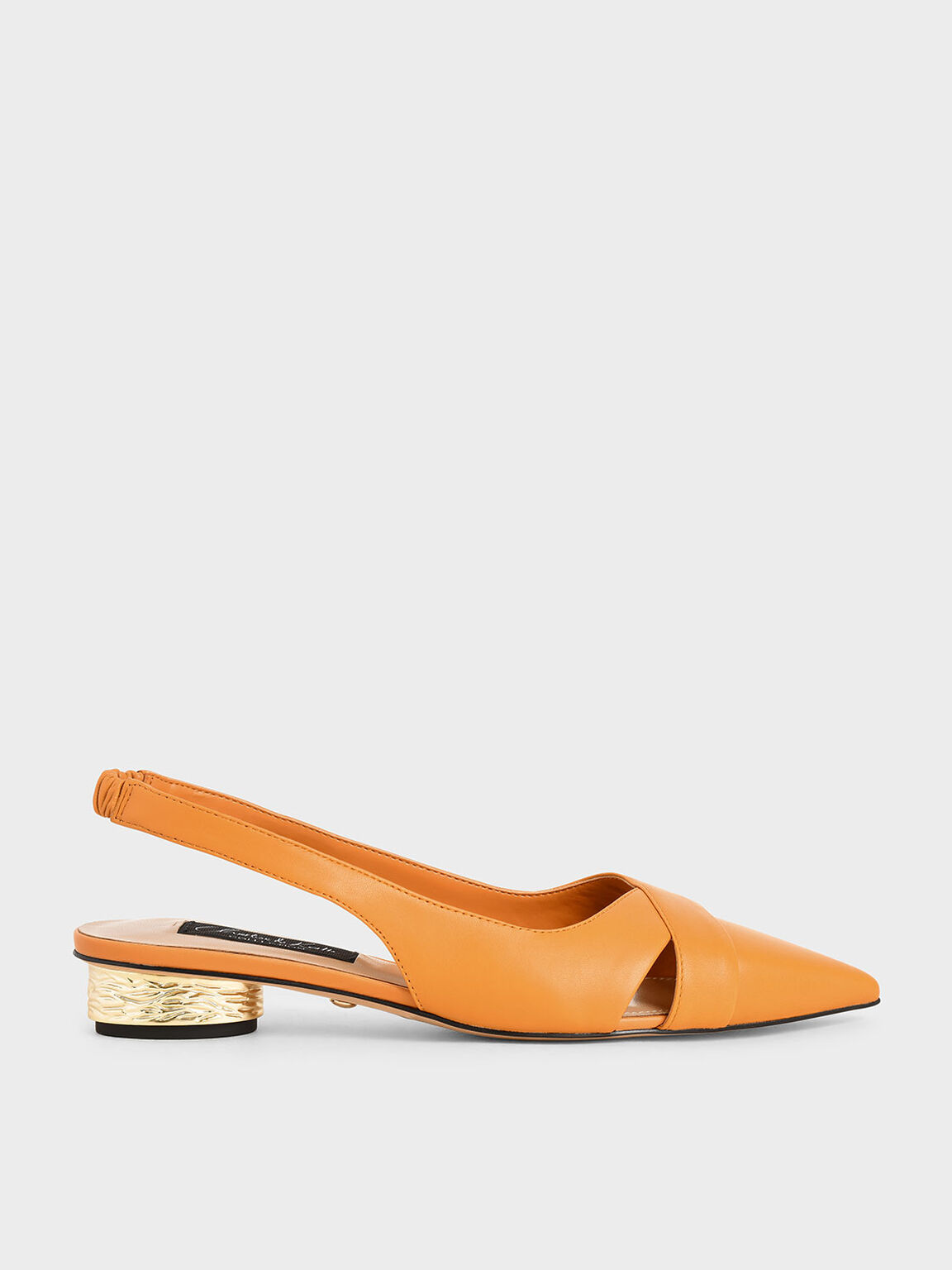 Leather Slingback Pumps, Orange, hi-res