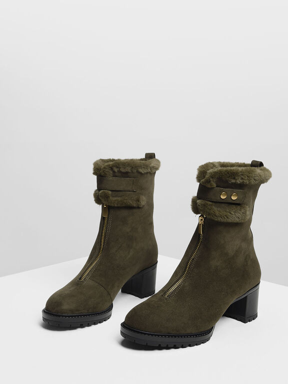 Furry Cuff Calf Boots, Olive, hi-res