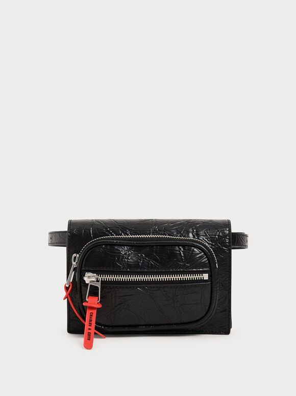 Wrinkled Effect Mini Rectangle Crossbody Bag, Black, hi-res