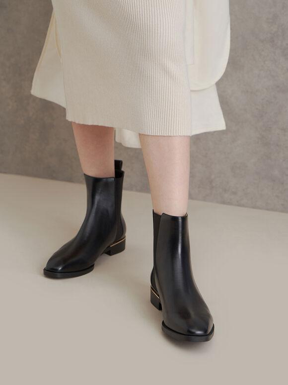 Basic Chelsea Boots, Black, hi-res