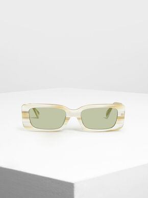 Thick Frame Rectangle Sunglasses, Cream