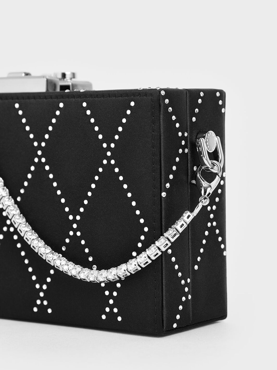 Satin Embellished Clutch, Black, hi-res