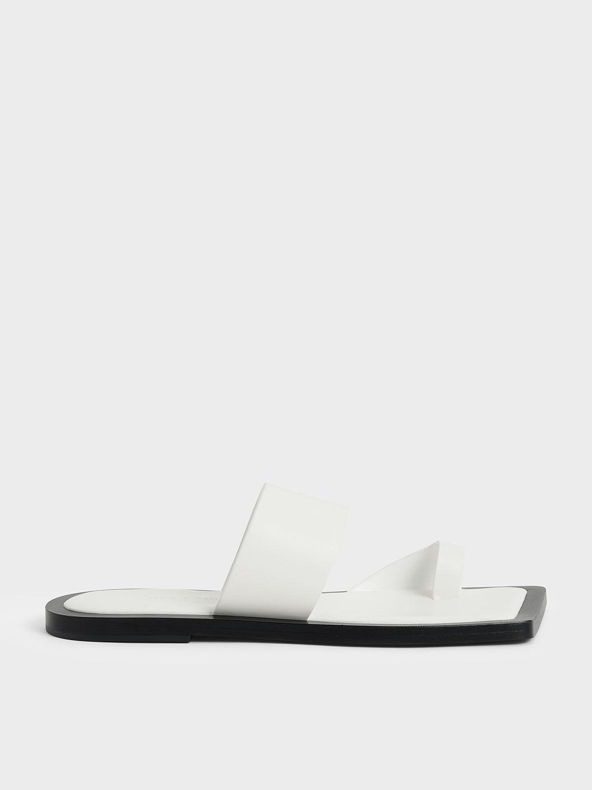 Toe Loop Slide Sandals, White, hi-res