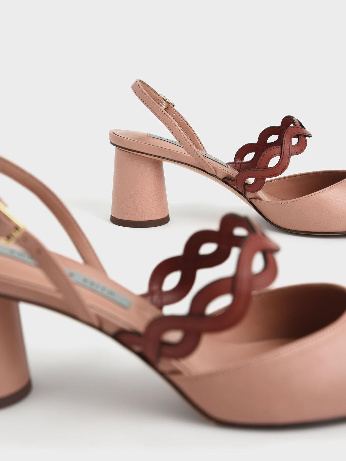 編織帶尖頭跟鞋, 粉紅色, hi-res