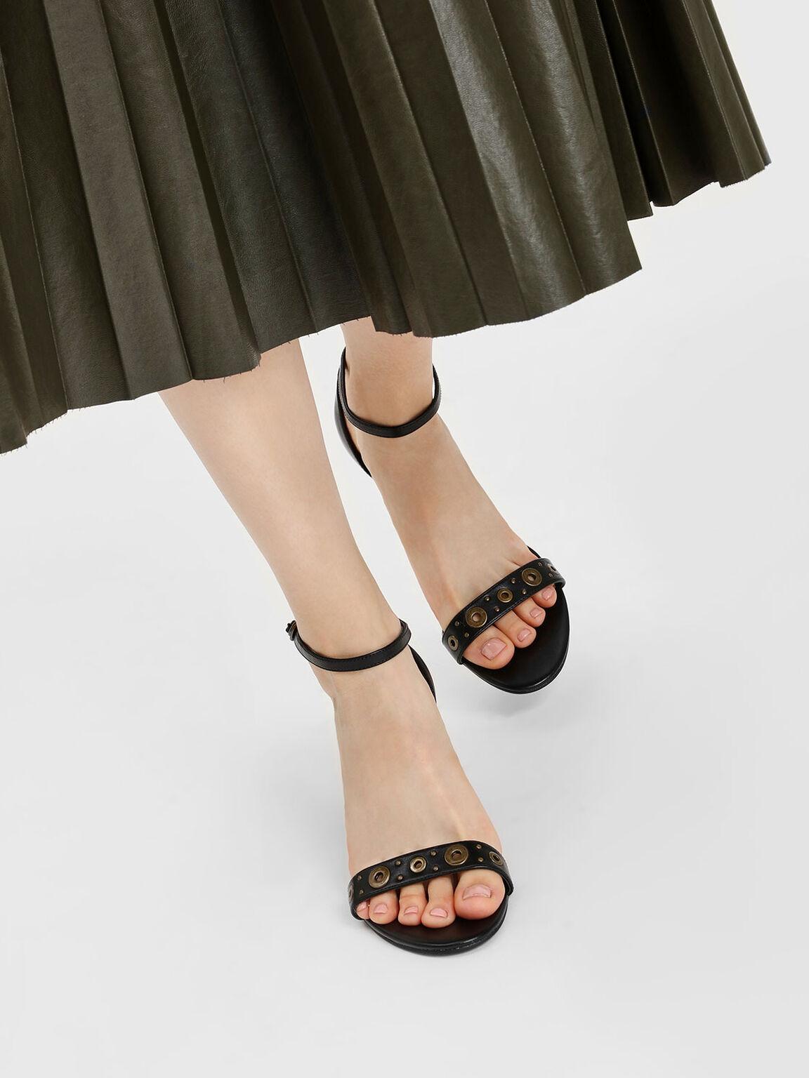 Grommet Detail Heeled Sandals, Black, hi-res