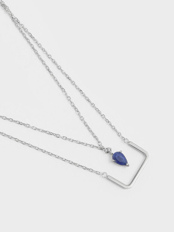 Sodalite Stone Layered Matinee Necklace, Silver, hi-res