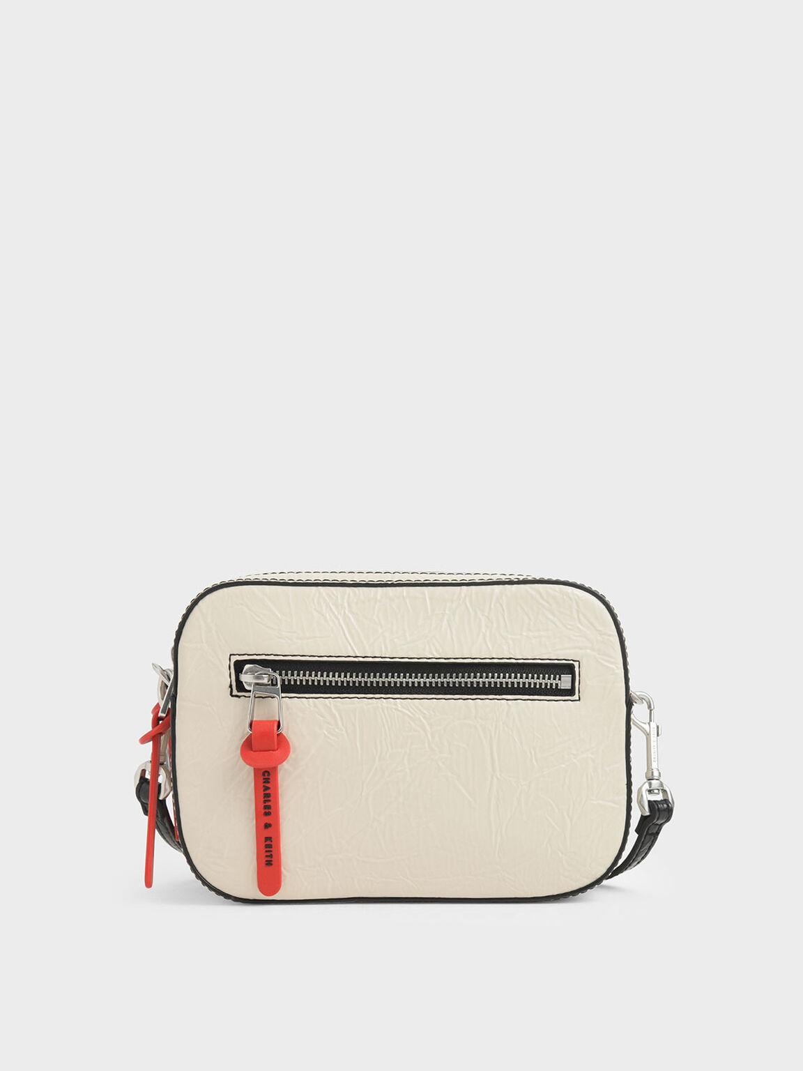 Wrinkled Effect Rectangle Crossbody Bag, Cream, hi-res