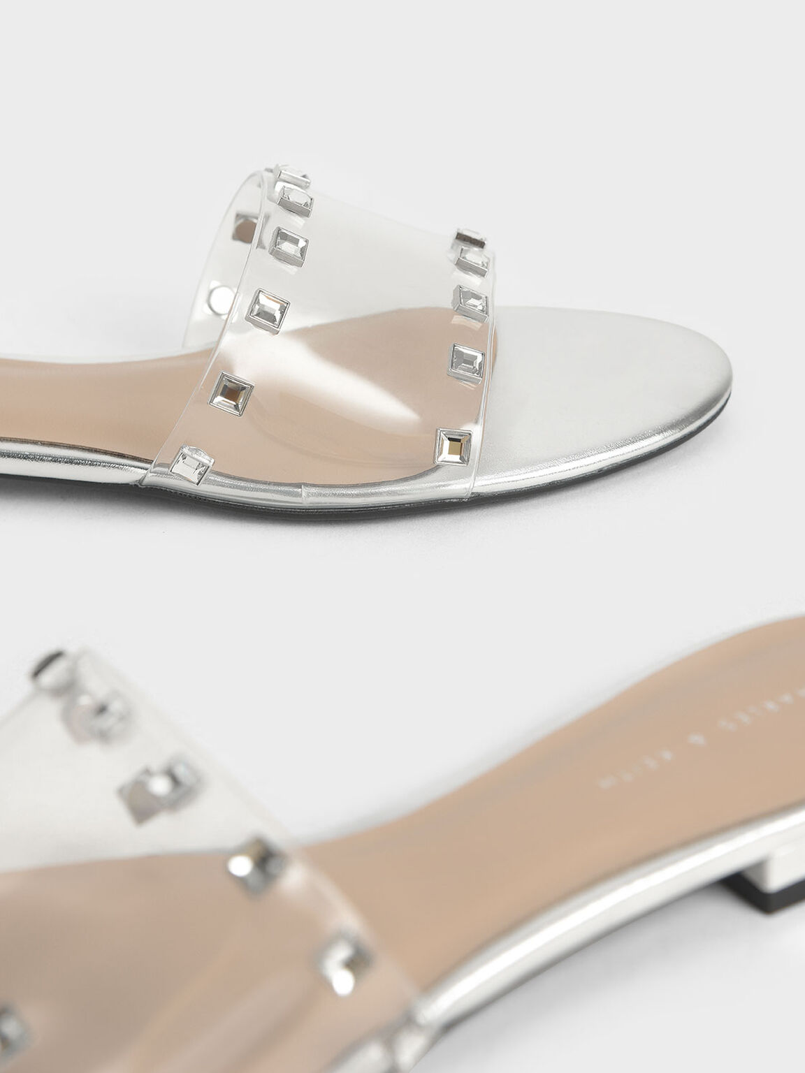 Gem Embellished Slide Sandals, Silver, hi-res