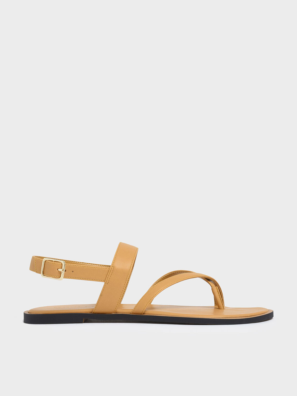 Toe Strap Thong Sandals, Mustard, hi-res