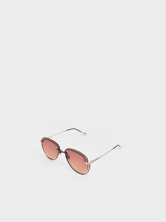 Cut-Out Tinted Sunglasses, Mauve, hi-res