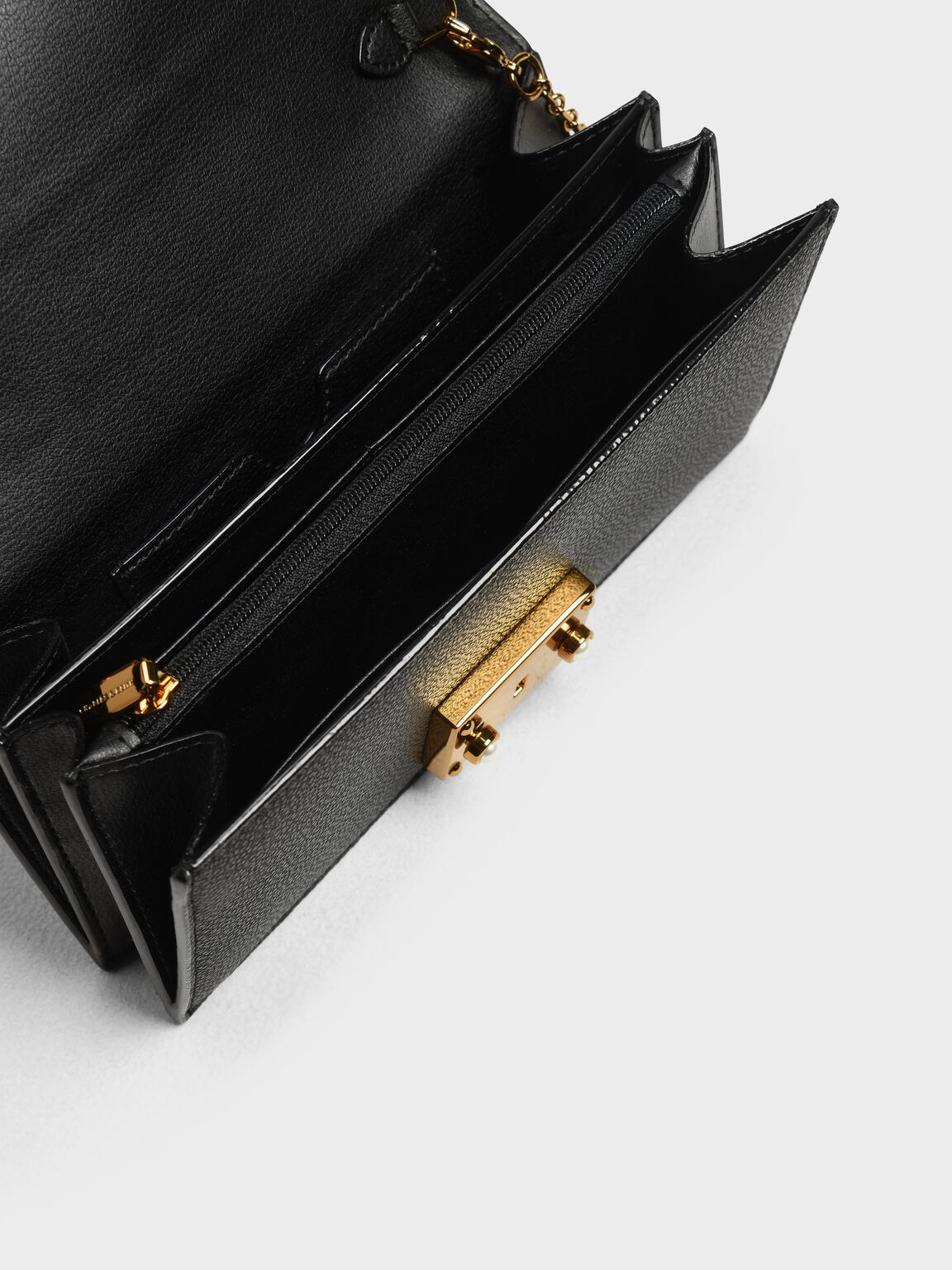 Metal Push Lock Long Wallet, Black, hi-res