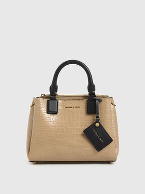 Croc-Effect Structured Bag, Beige, hi-res