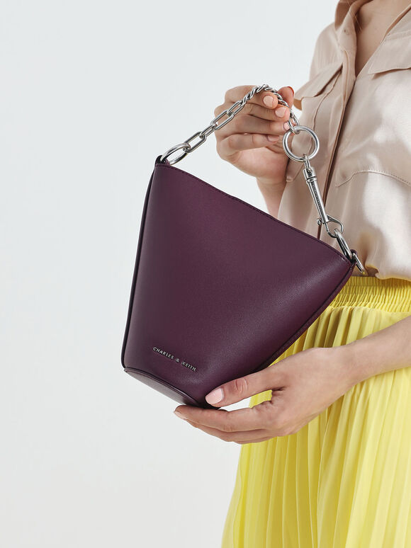 Mini Slanted Bucket Bag, Prune, hi-res