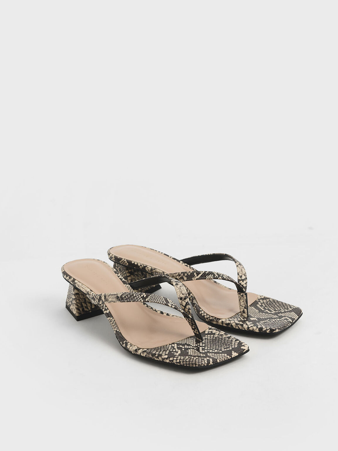 Snake Print Thong Heeled Sandals, Multi, hi-res