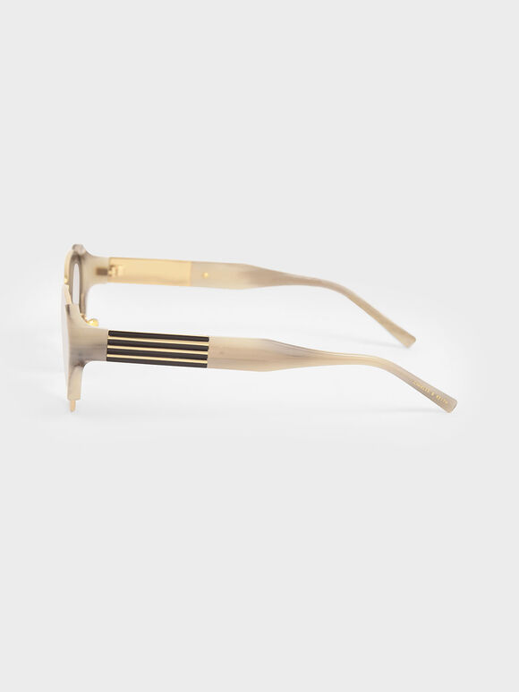 Acetate Striped Cat-Eye Sunglasses, Cream, hi-res