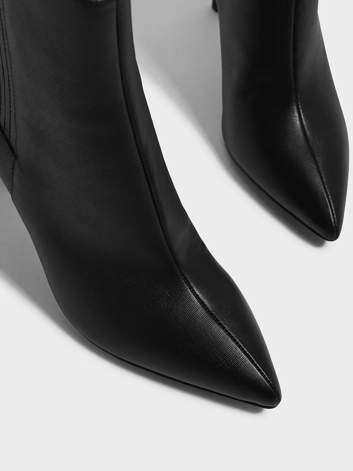 Classic Leather Pointed Boots, Black, hi-res