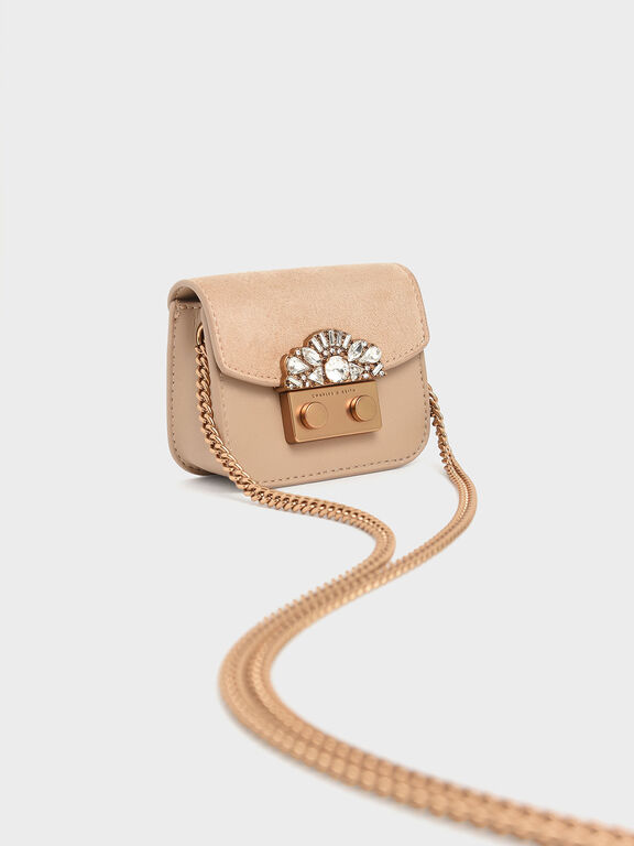 Mini Embellished Buckle Key Pouch, Beige