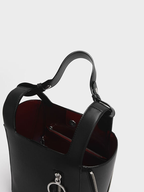 Ring Zip Pocket Square Handle Trapeze Tote, Black, hi-res