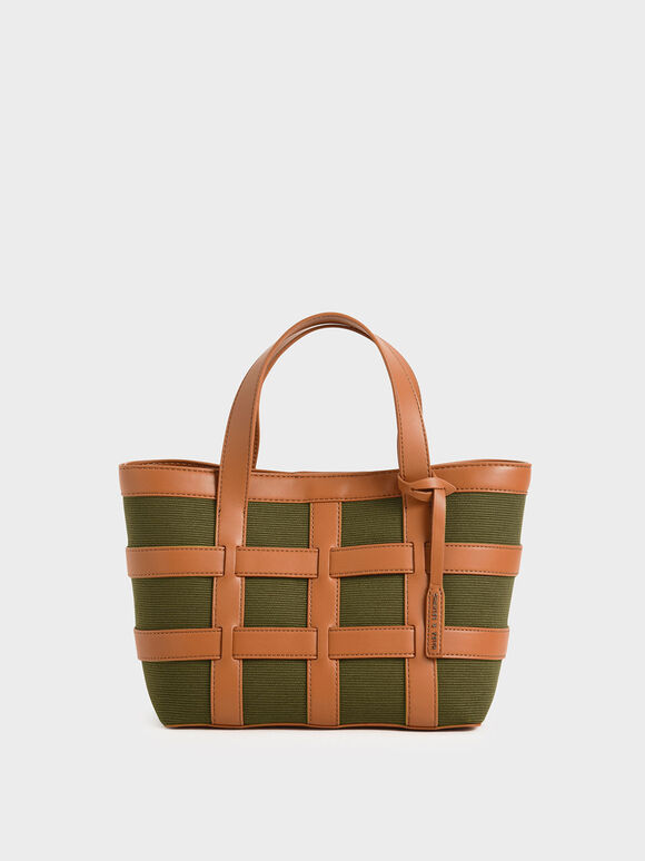 Caged Canvas Tote Bag, Olive, hi-res