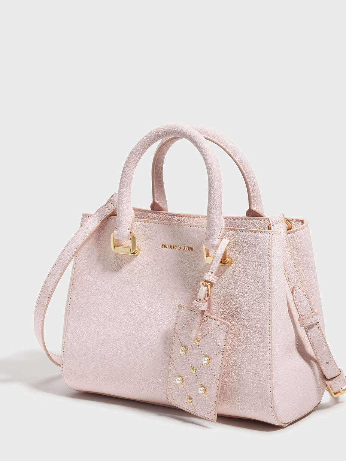 Large Structured City Bag, Pink, hi-res