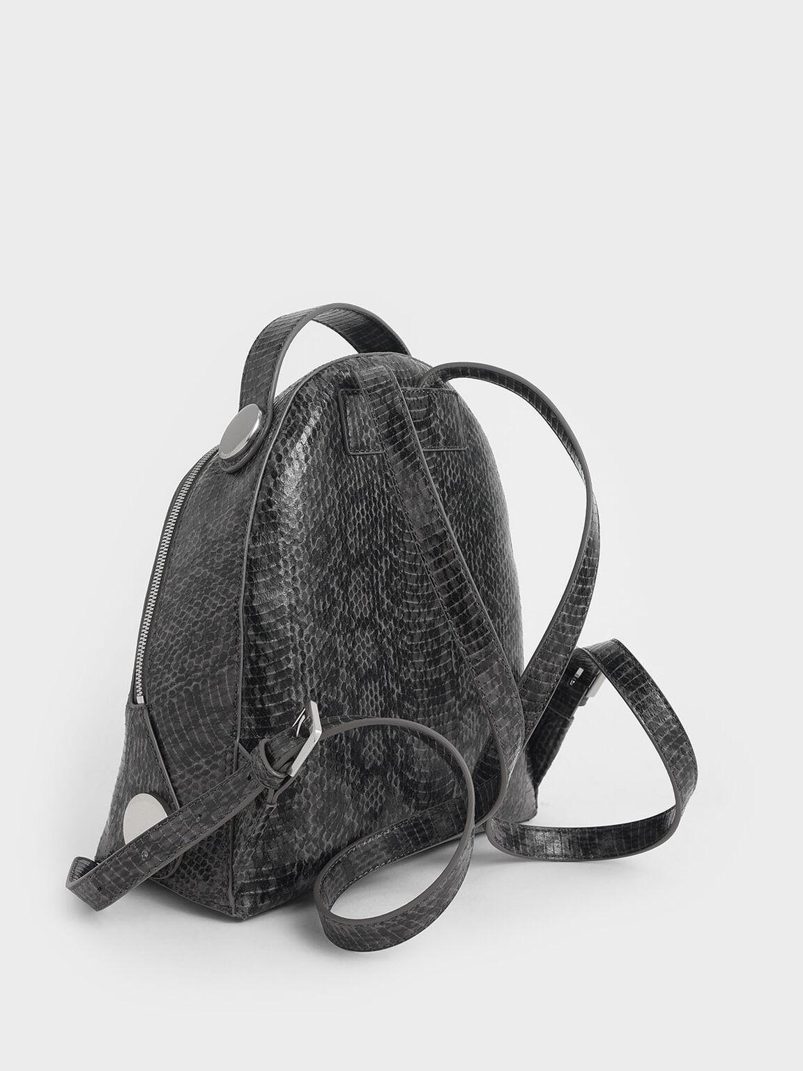 Large Snake Print Dome Backpack, Grey, hi-res