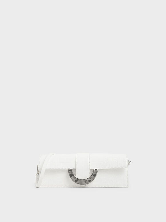 Croc-Effect Long Clutch, White, hi-res