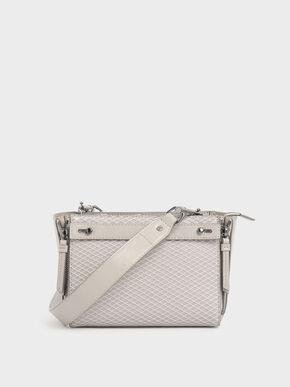 Rectangle Mesh Crossbody Bag, Cream