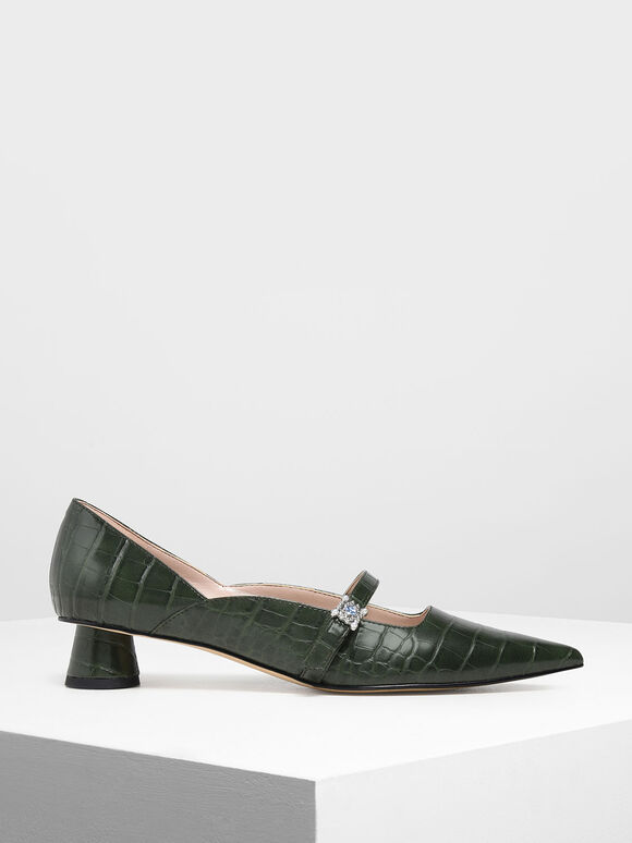 Croc-Effect Gem Embellished Cylindrical Heel Mary Jane Pumps, Green, hi-res