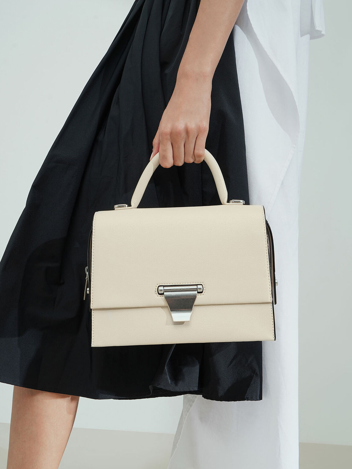Metal Push-Lock Top Handle Bag, Cream, hi-res