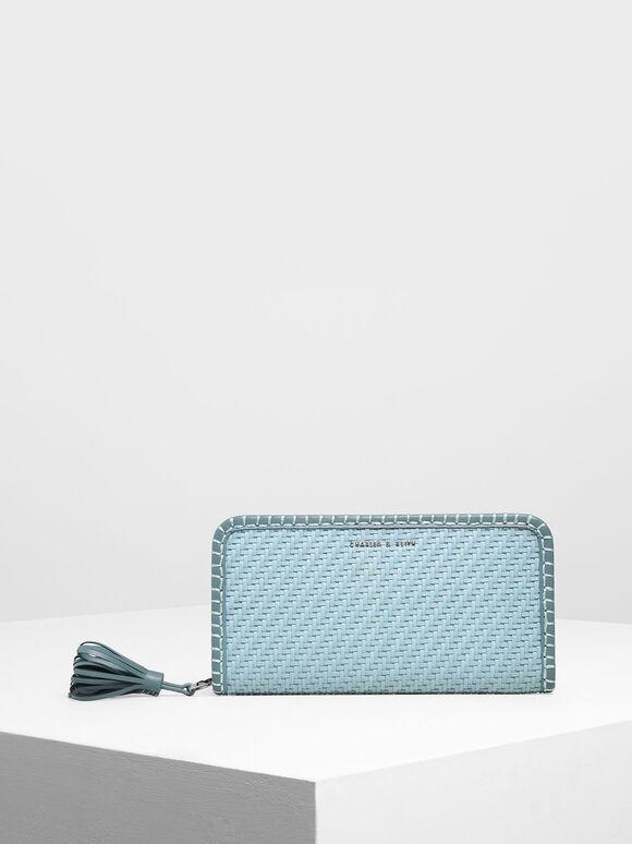 Woven Tassel Zip Around Wallet, Teal, hi-res