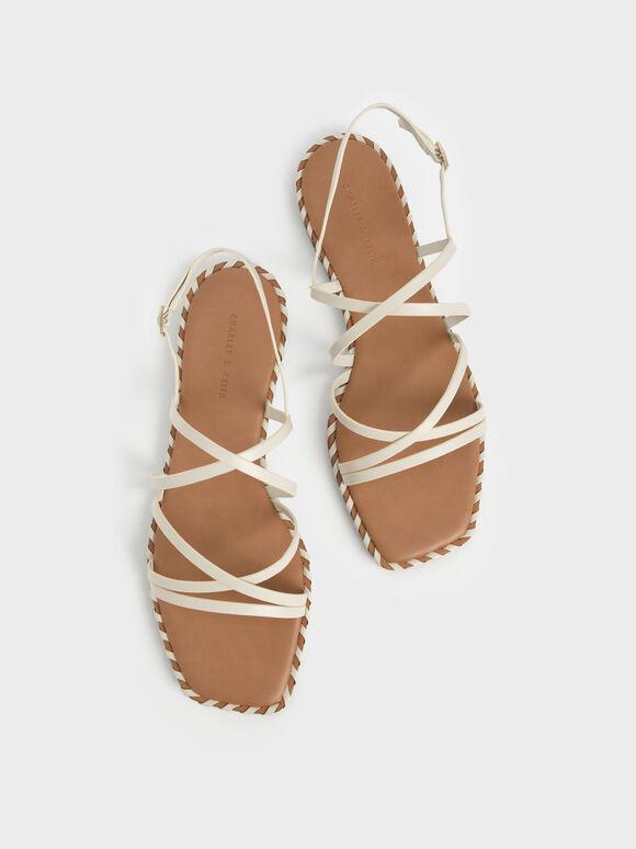 Whipstitch Trim Strappy Sandals, Chalk, hi-res