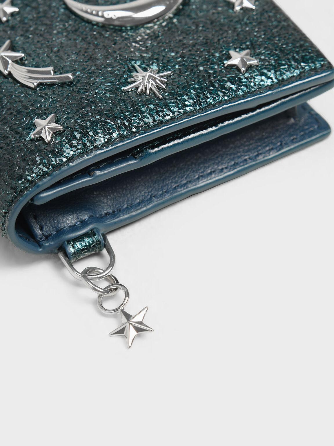 Galaxy Embellished Metallic Cardholder, Green, hi-res