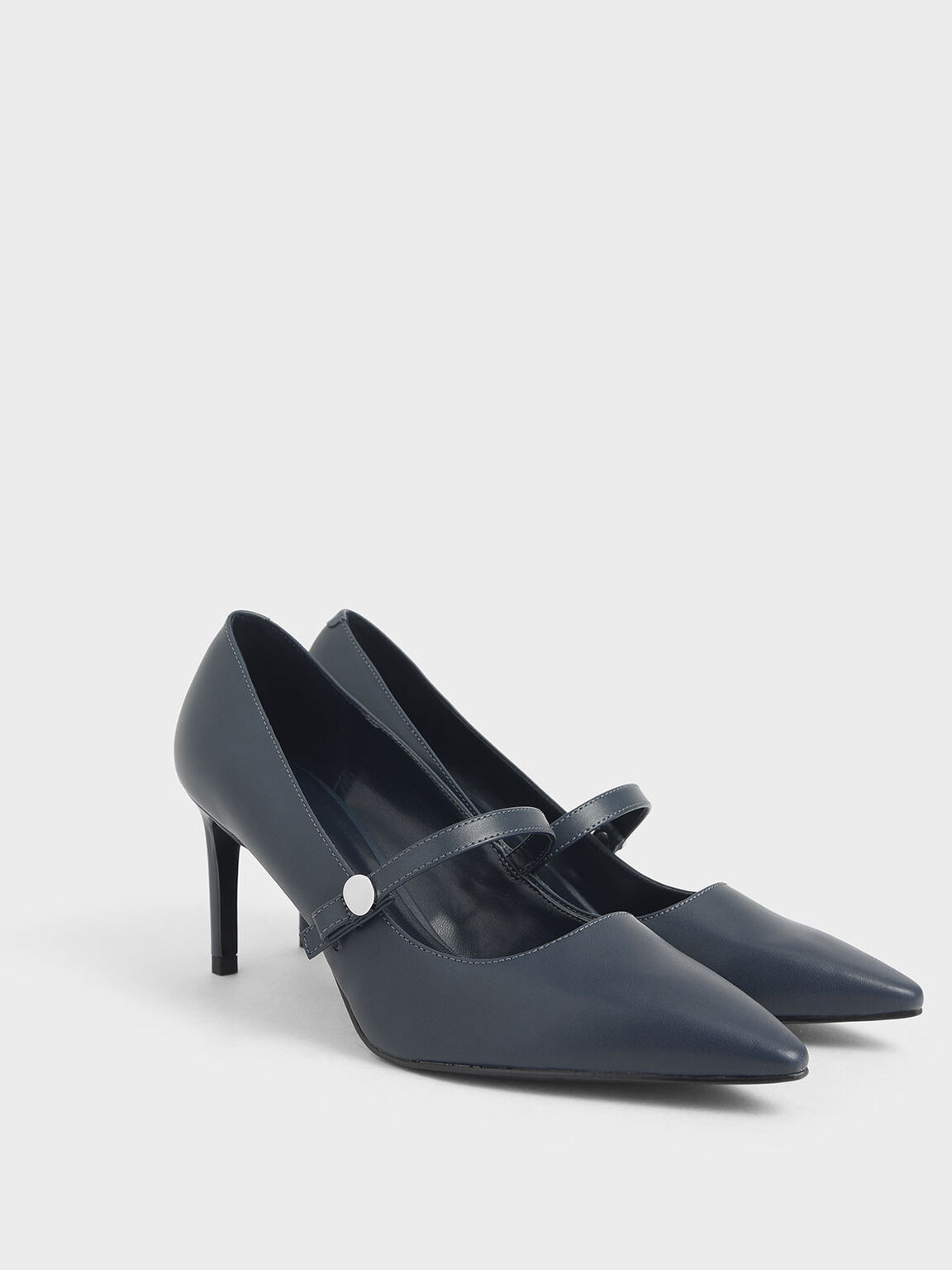 Chrome Buckle Mary Jane Pumps, Dark Blue, hi-res