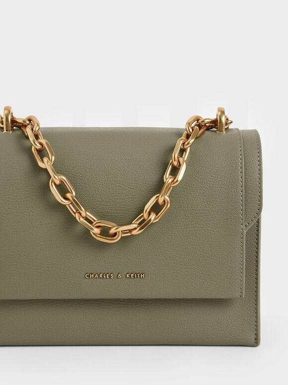 Chain Handle Evening Bag, Sage Green, hi-res