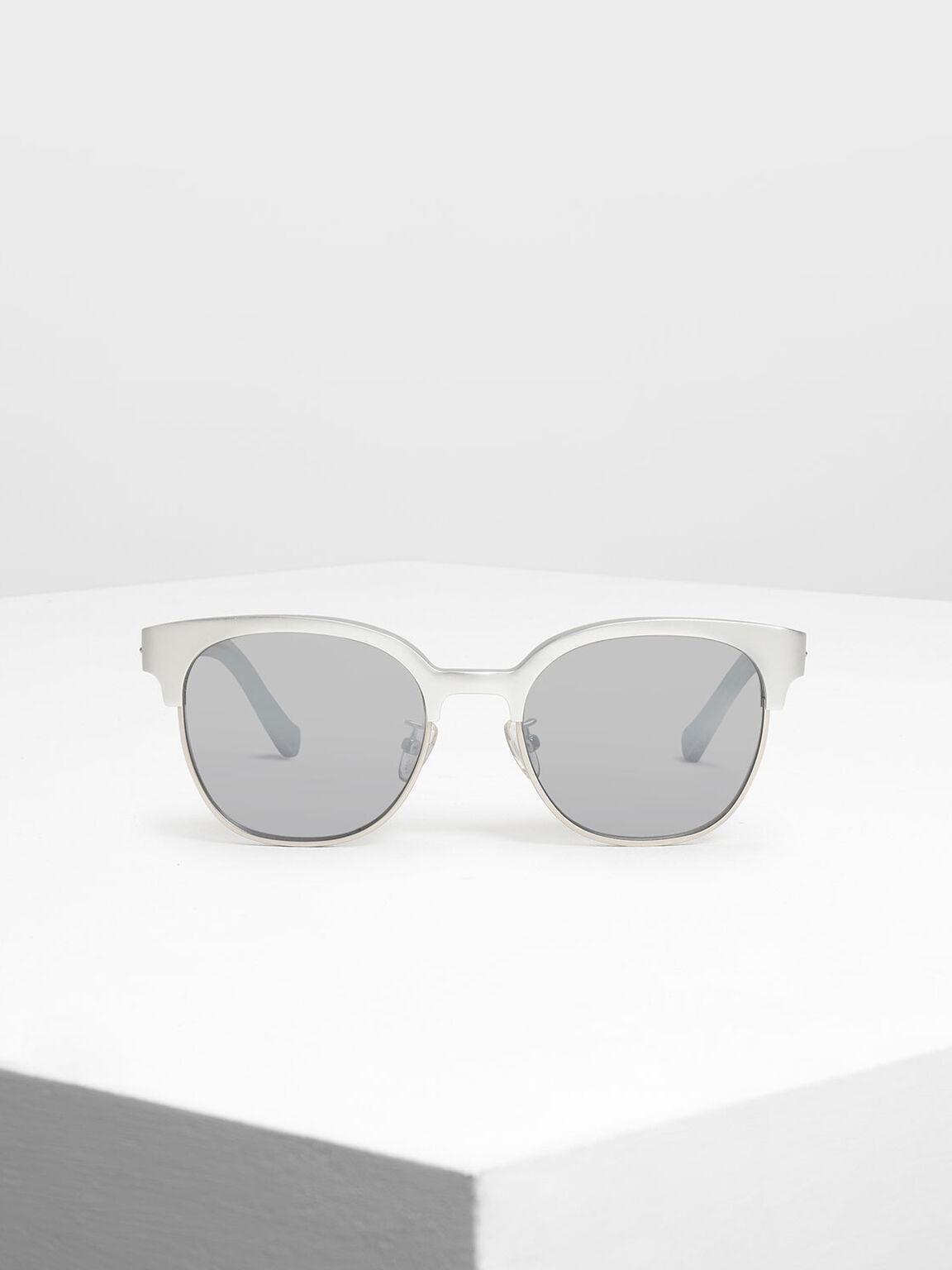 Cat Eye Eyewear, Silver, hi-res