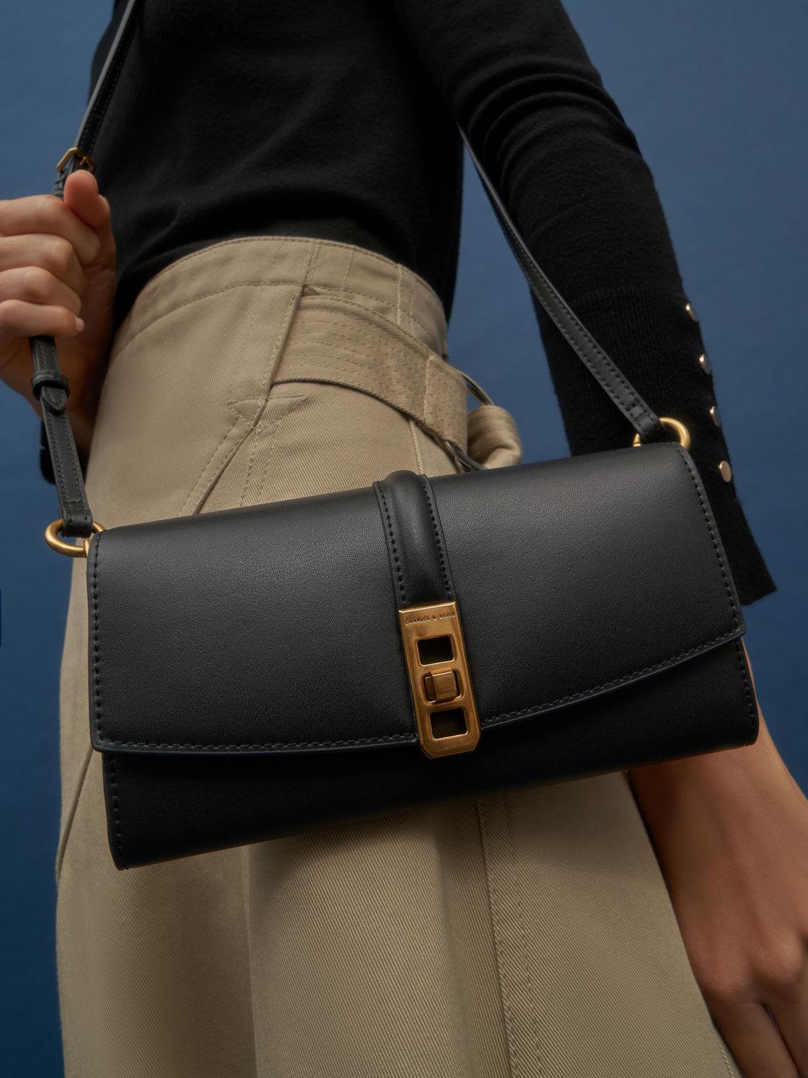 Coiled Top Handle Wallet, Black, hi-res