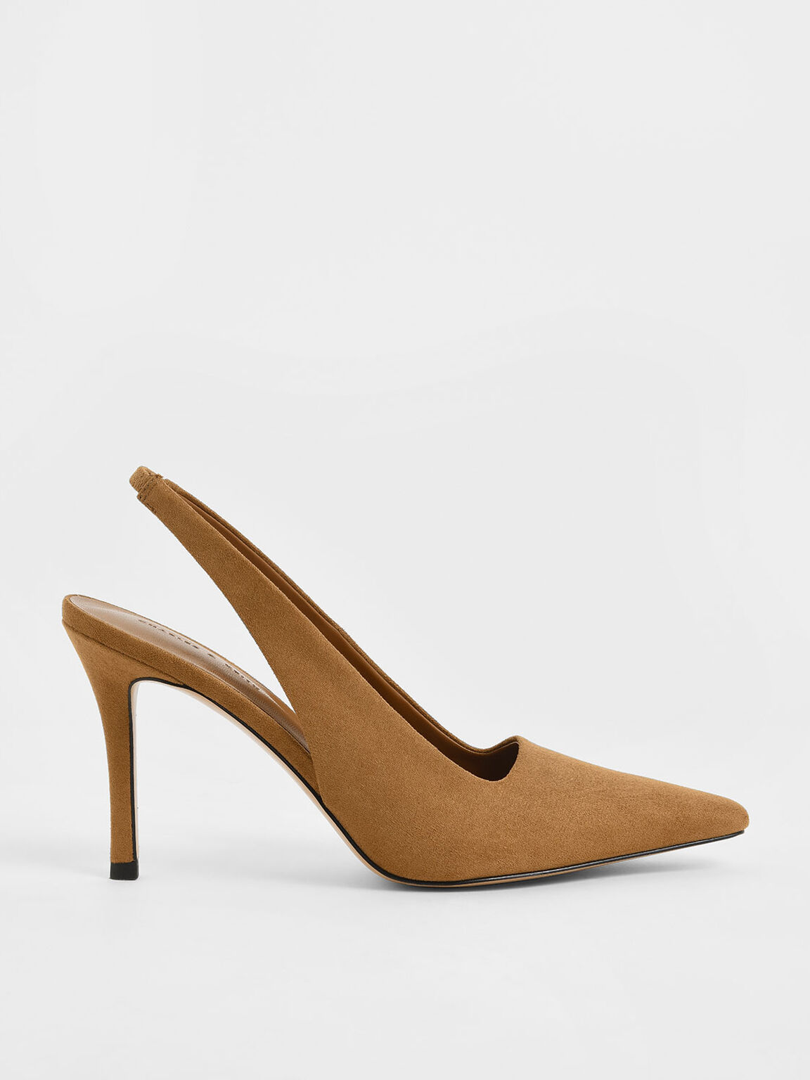 Textured Stiletto Heel Slingback Pumps, Caramel, hi-res