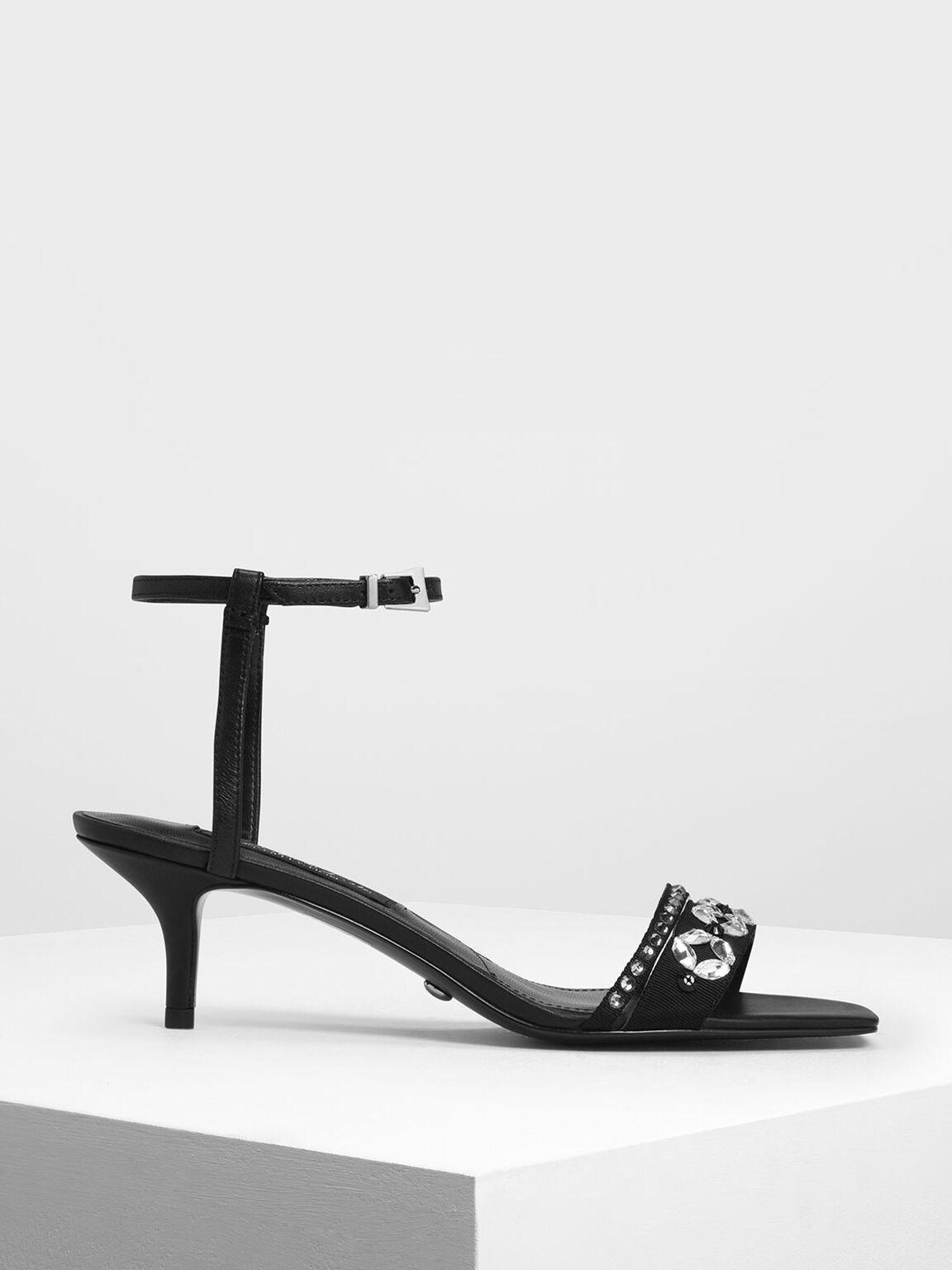 Leather Bedazzled Kitten Heel Sandals, Black, hi-res
