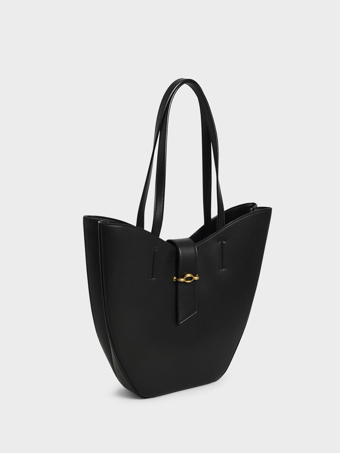 Belt Buckle Strap Large Tote Bag, Black, hi-res
