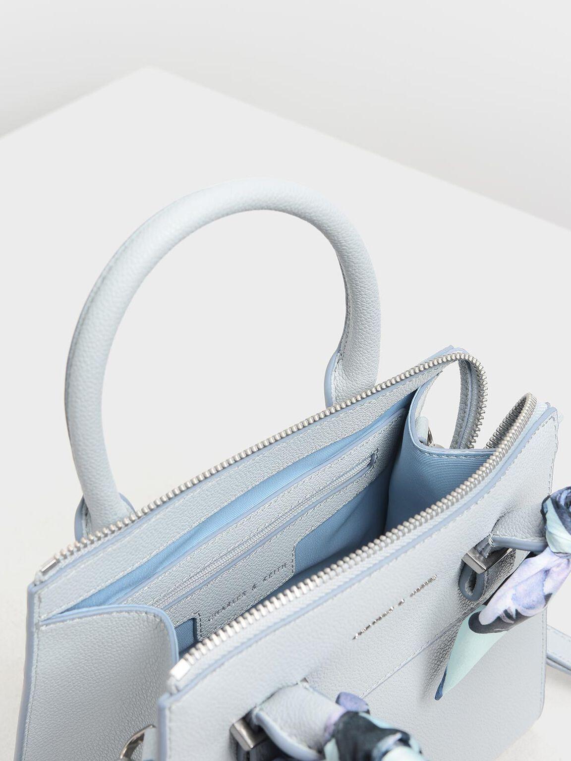 Scarf Wrapped Top Handle Bag, Light Blue, hi-res