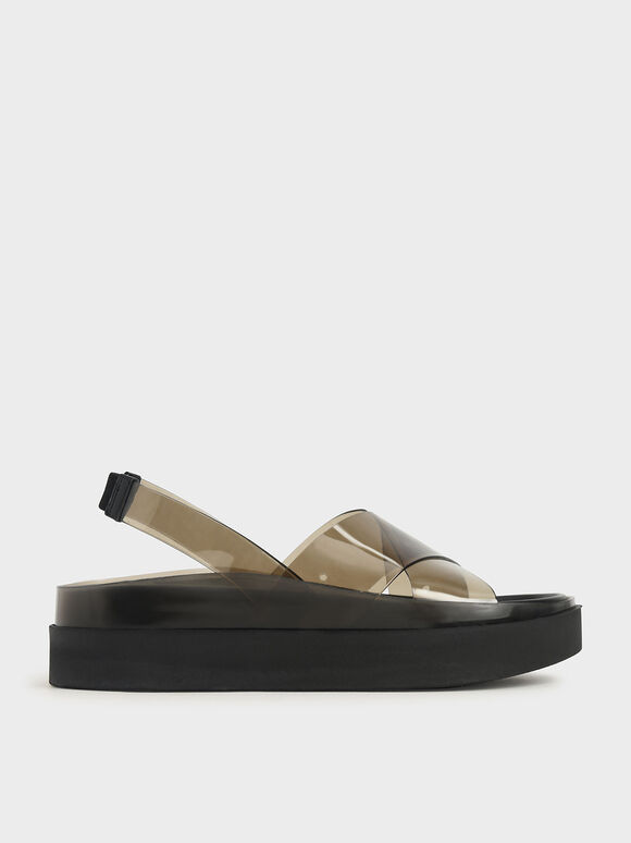 See-Through Effect Flatform Sandals, Black, hi-res