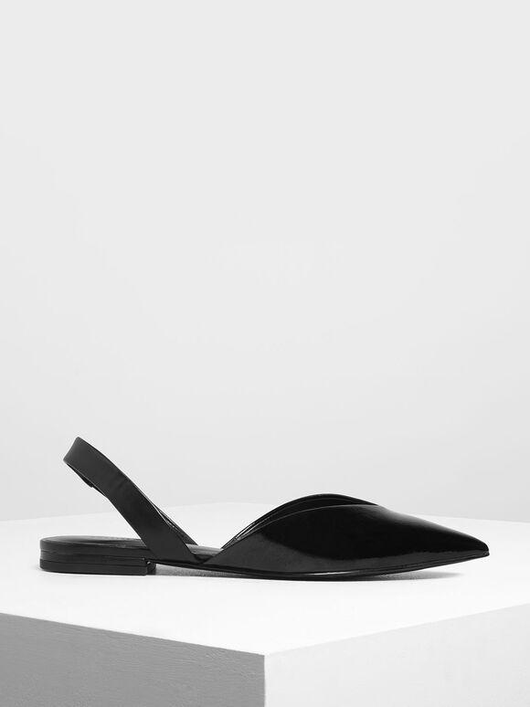 V-Cut Wrinkled Effect Patent Slingback Flats, Black, hi-res