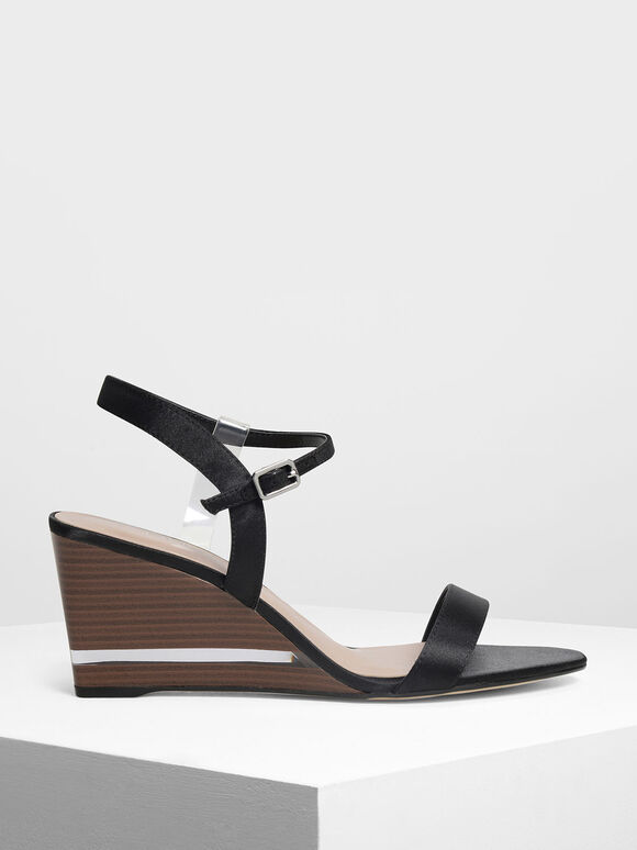 Clear Strap Wooden Wedges, Black, hi-res